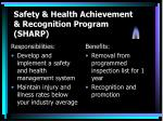 safety health achievement recognition program sharp