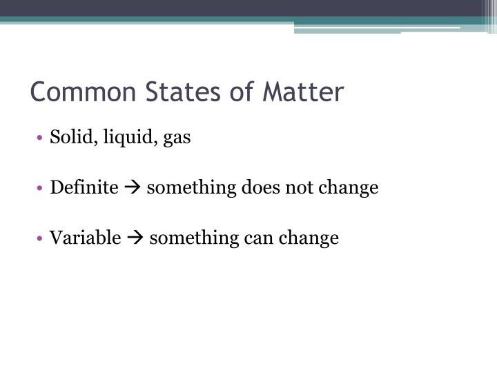 Common States of Matter