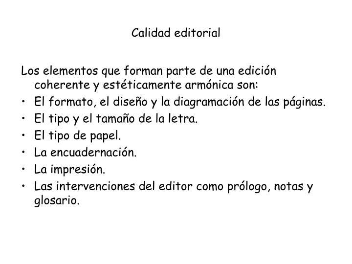 Calidad editorial