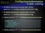 configuring authorization in web config