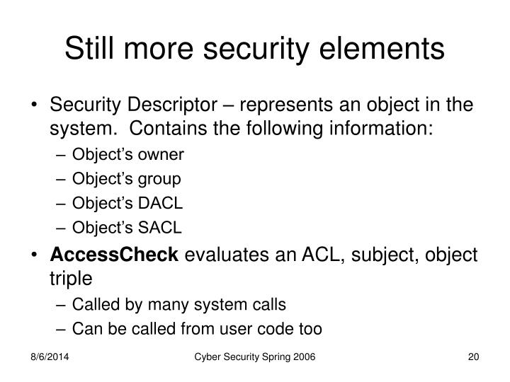 Still more security elements