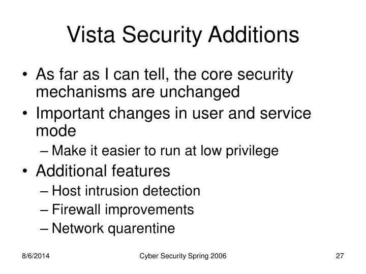 Vista Security Additions