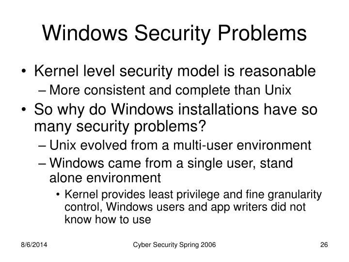 Windows Security Problems