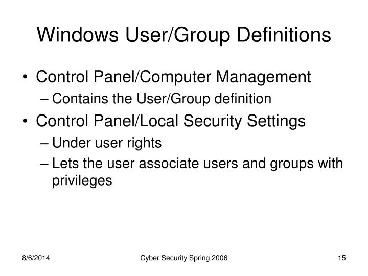 Windows User/Group Definitions