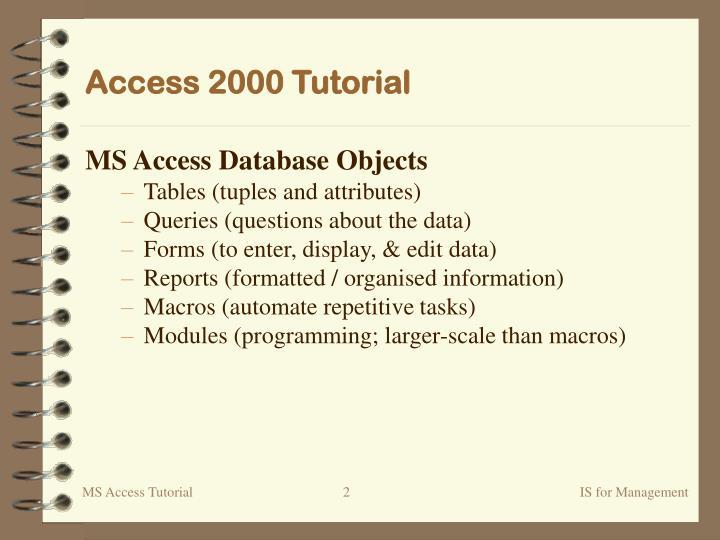 Access 2000 tutorial