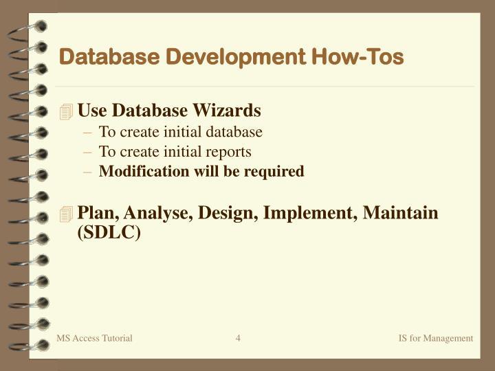 Database Development How-Tos