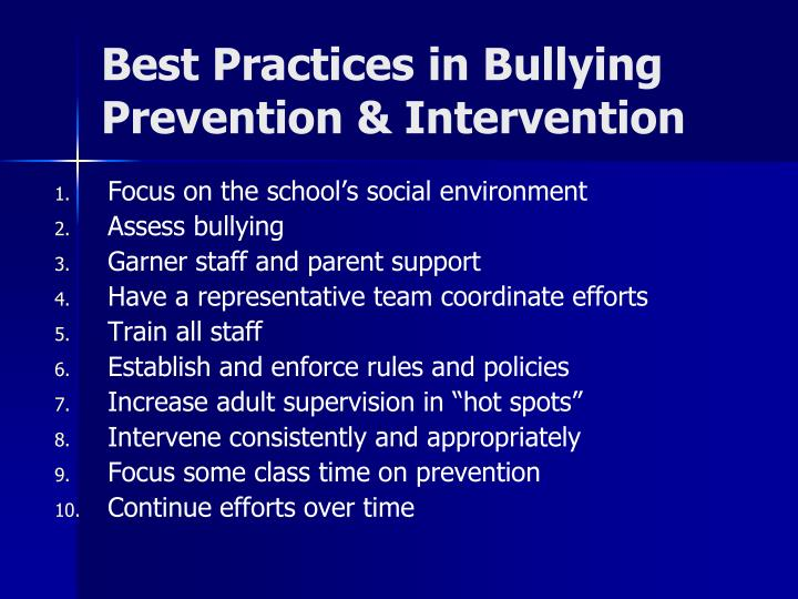 Best Practices in Bullying Prevention & Intervention