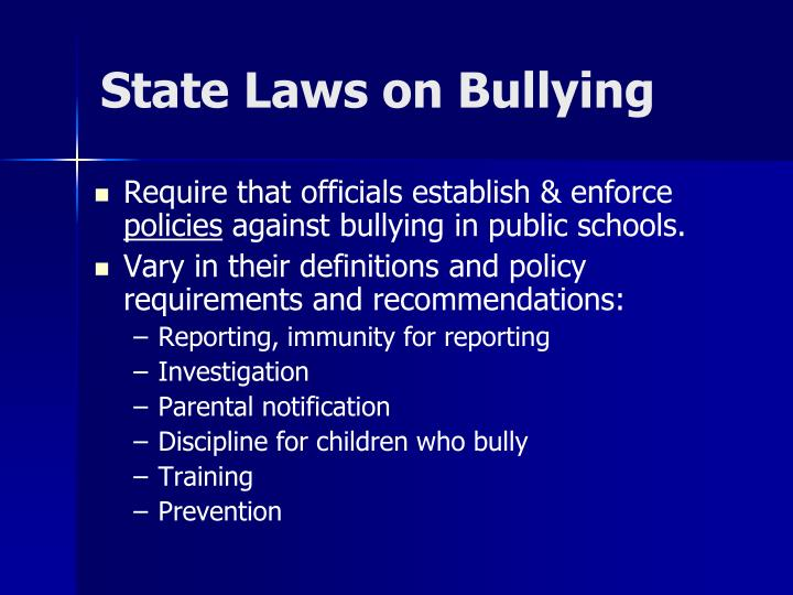 State laws on bullying1