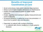 benefits of improved coordination of care