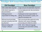 paradigm shift toward data centric health care