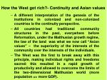 how the west got rich continuity and asian values