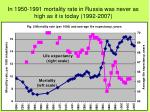 in 1950 1991 mortality rate in russia was never as high as it is today 1992 2007