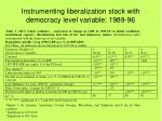 instrumenting liberalization stock with democracy level variable 1989 96