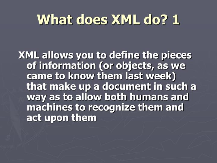 What does XML do? 1