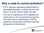 why a code to control pollution