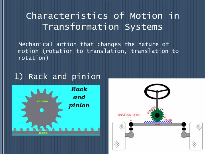 Characteristics of Motion in Transformation Systems