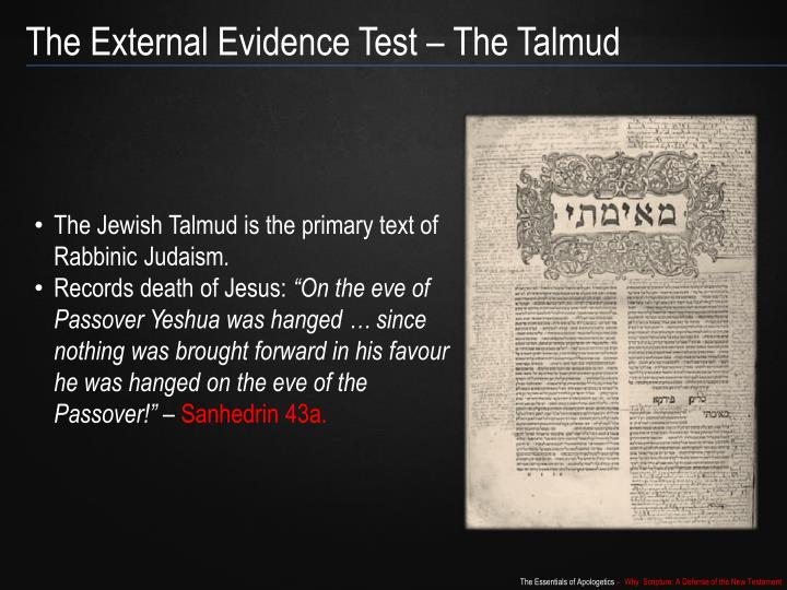 The External Evidence Test – The Talmud