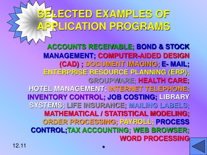 SELECTED EXAMPLES OF APPLICATION PROGRAMS