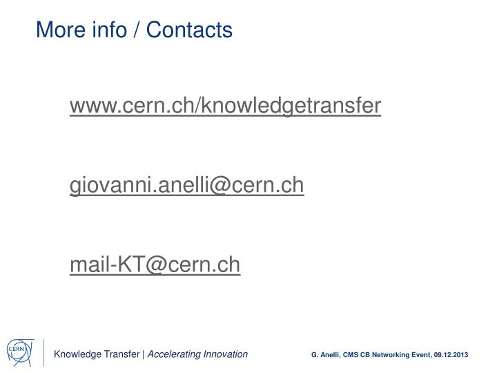 More info / Contacts