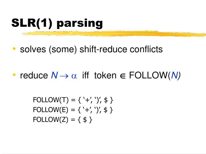 SLR(1) parsing