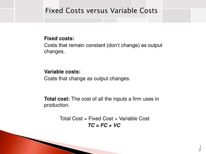 Fixed Costs versus Variable Costs