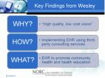key findings from wesley