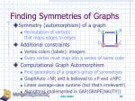 finding symmetries of graphs