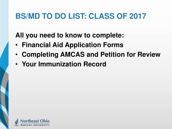 bs md to do list class of 2017 n.