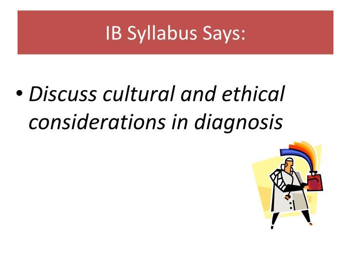 Ib syllabus says