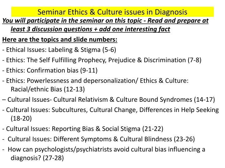 Seminar Ethics & Culture issues in Diagnosis