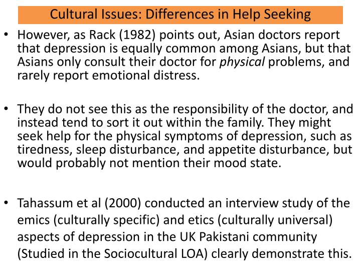 Cultural Issues: Differences in Help Seeking