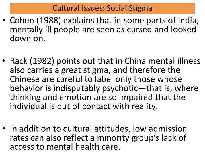Cultural Issues: Social Stigma