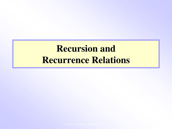 Recursion and recurrence relations