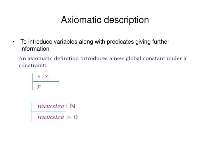 Axiomatic description