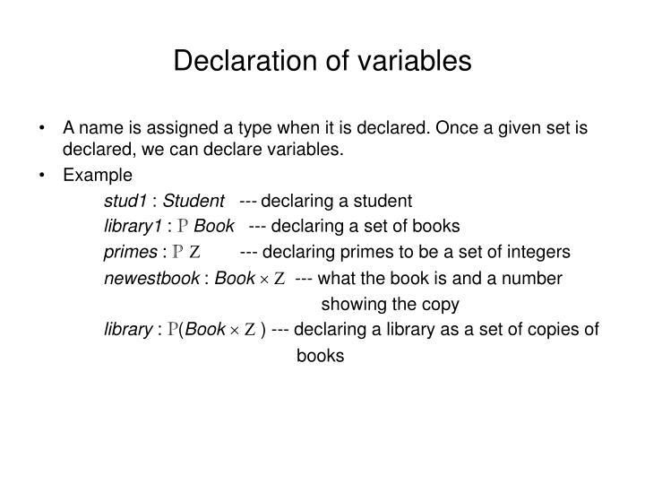 Declaration of variables