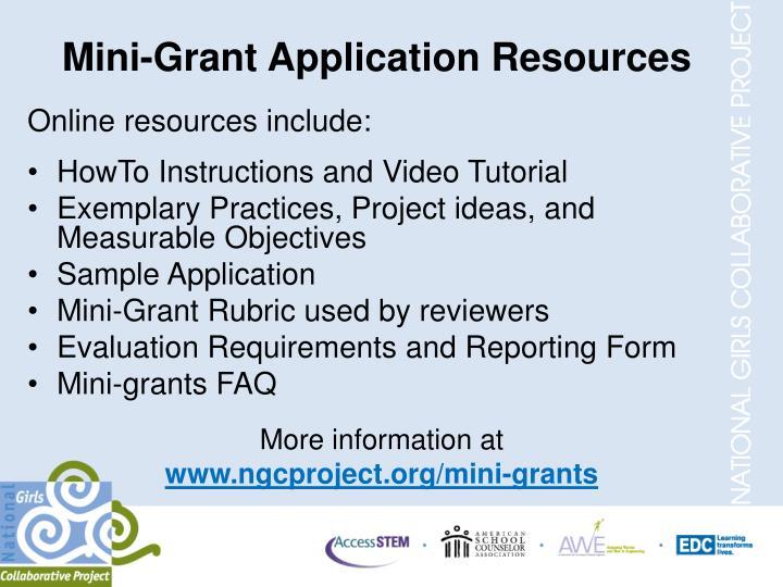 Mini-Grant Application Resources