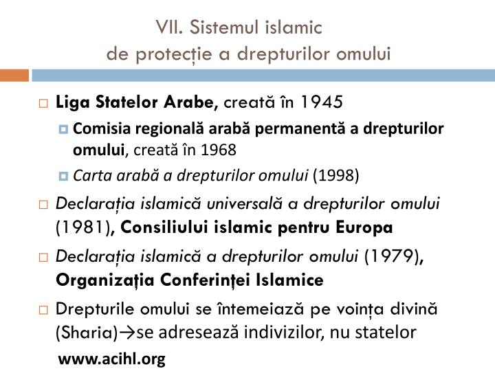 VII. Sistemul islamic
