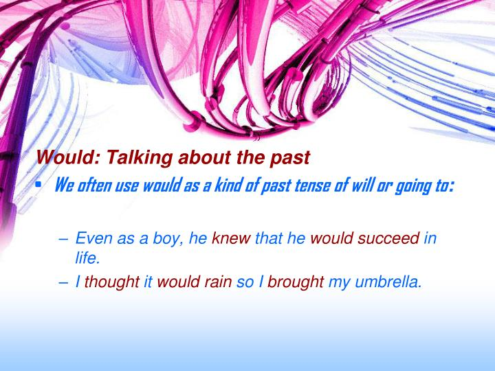 Would: Talking about the past