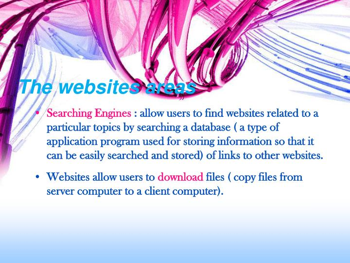 The websites areas