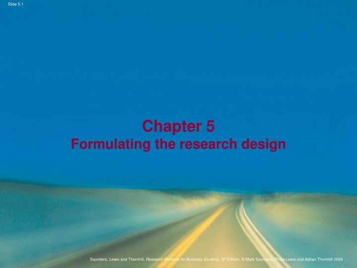 chapter 5 formulating the research design n.