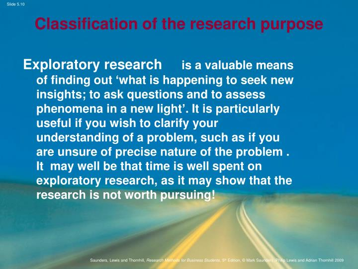 Classification of the research purpose
