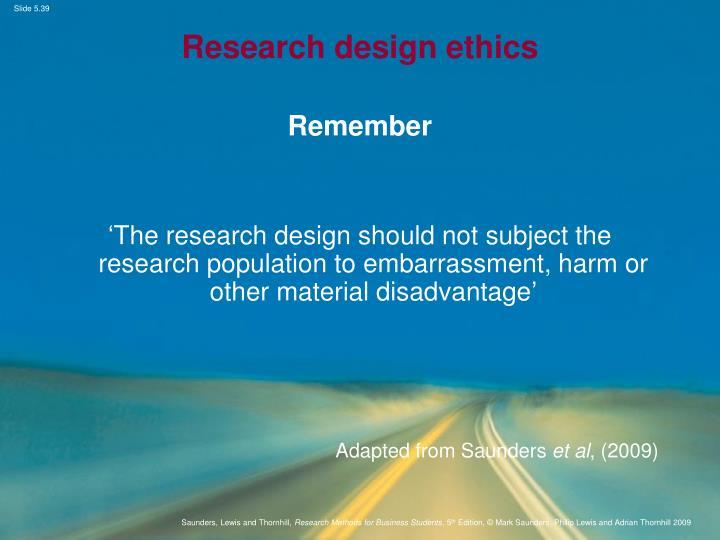 Research design ethics