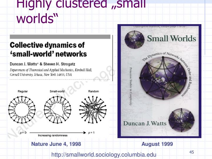 """Highly clustered """"small worlds"""""""