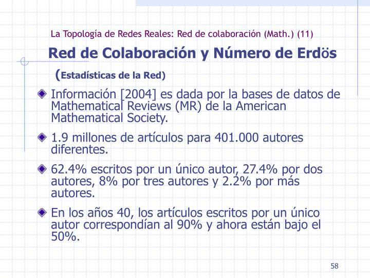La Topología de Redes Reales: Red de colaboración (Math.) (11)