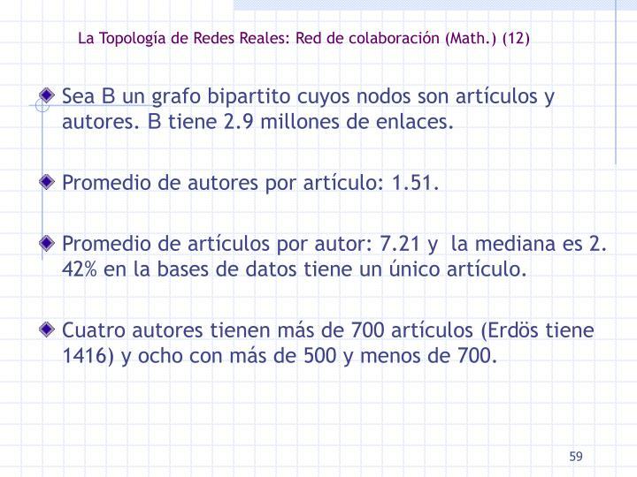 La Topología de Redes Reales: Red de colaboración (Math.) (12)