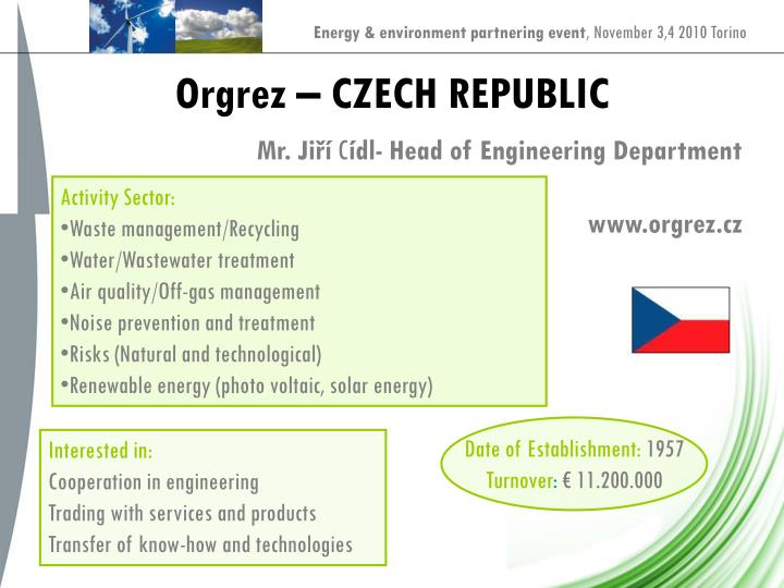 Orgrez – CZECH REPUBLIC
