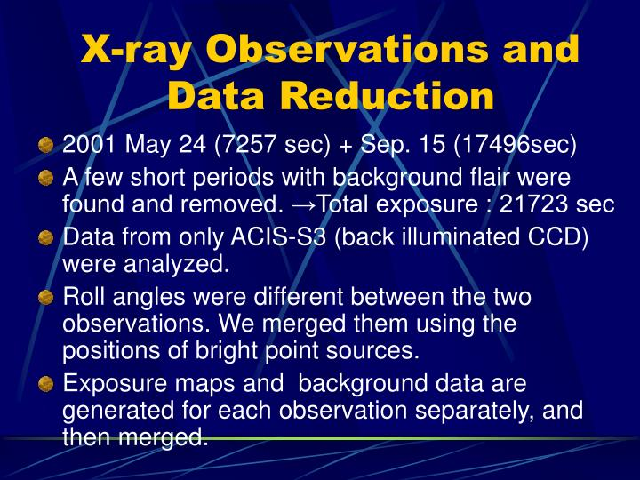X-ray Observations and Data Reduction