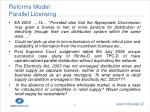 reforms model parallel licensing