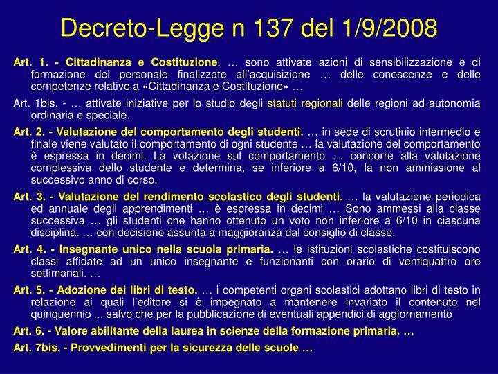 Decreto-Legge n 137 del 1/9/2008