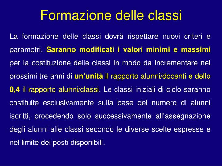 Formazione delle classi